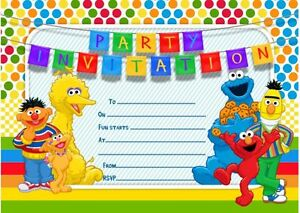 Image Is Loading 10 X SESAME STREET Birthday Party Invitations