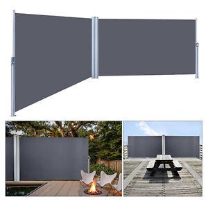 Seitenmarkise-Sichtschutz-Ausziehbar-Windschutz-Sonnenschutz-Seitenrollo-Grau-UV