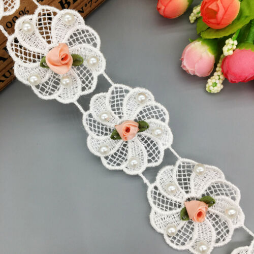 1 Yard Rose Flower Pearl Lace Trim Wedding Ribbon Fabric Applique Sewing Crafts