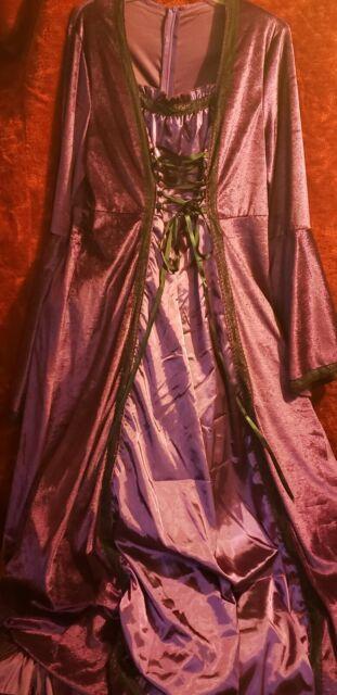 C279 Renaissance Lady Medieval Purple Velvet Gown Womens Fancy Dress Costume