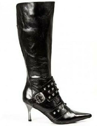 Heels 49007 Mid High New Black Rock Boots Metallic Newrock Studded Calf xPIz6wxq
