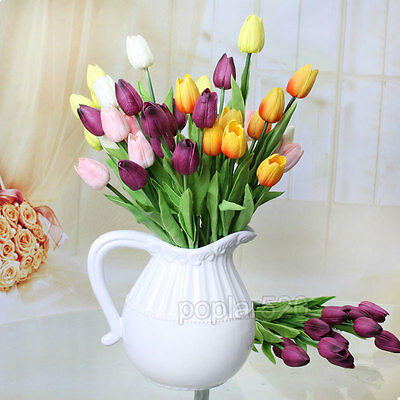 NEW Best Latex Real Touch Tulip Flower Wedding Party Bouquet Home Decorate 10PCS