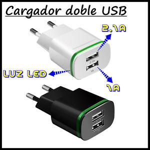 Cargador-Doble-USB-para-Movil-Tablet-DUAL-2-de-Pared-2-1A-1A-Smartphone-Carga