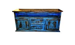 2 Door 2 Drawer TV STAND Blue Scraped Flat Screen Console Real Wood Cabin Lodge