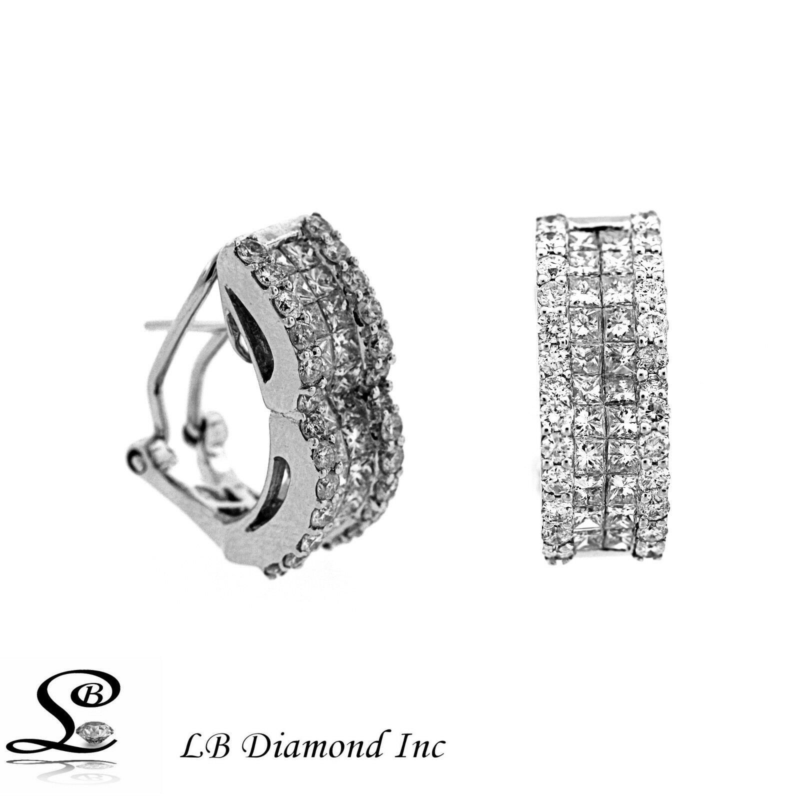 Diamond Earrings 3.42ct Princess and Round Cut Diamonds in 18k White gold