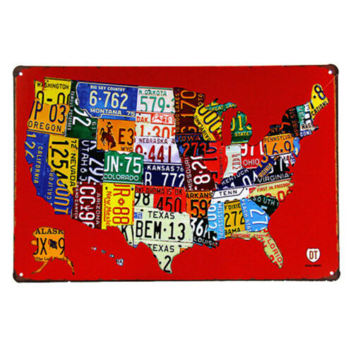 DL-Metal Retro Sign American Dream Tin Plate Poster Wall Decor Car Route 66