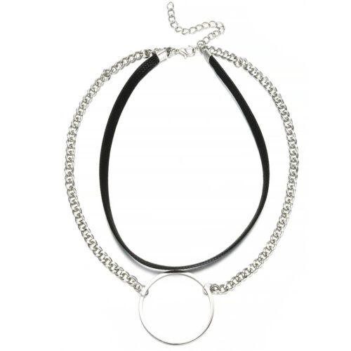 Jewelry Gothic Punk Round Circle Collar Choker Necklace O-Ring Pendant