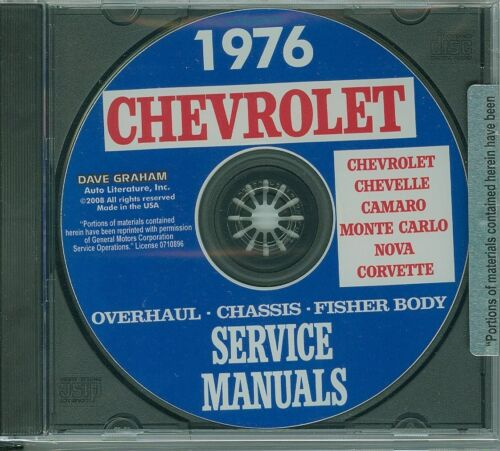 1976  CAMARO//SSCHEVELLE//SS//CORVETTE CHASSIS /&  BODY SERVICE  MANUAL ON CD