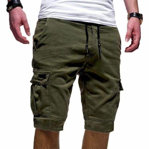 Herren Cargo Shorts Bermuda Kurz Hose Capri Mehrfachtasche Tunnelzug Taill Hosen
