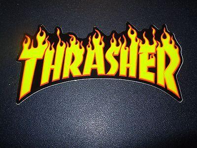 "THRASHER Skate 4/"" STICKER Flaming Logo skateboard magazine helmets decal"