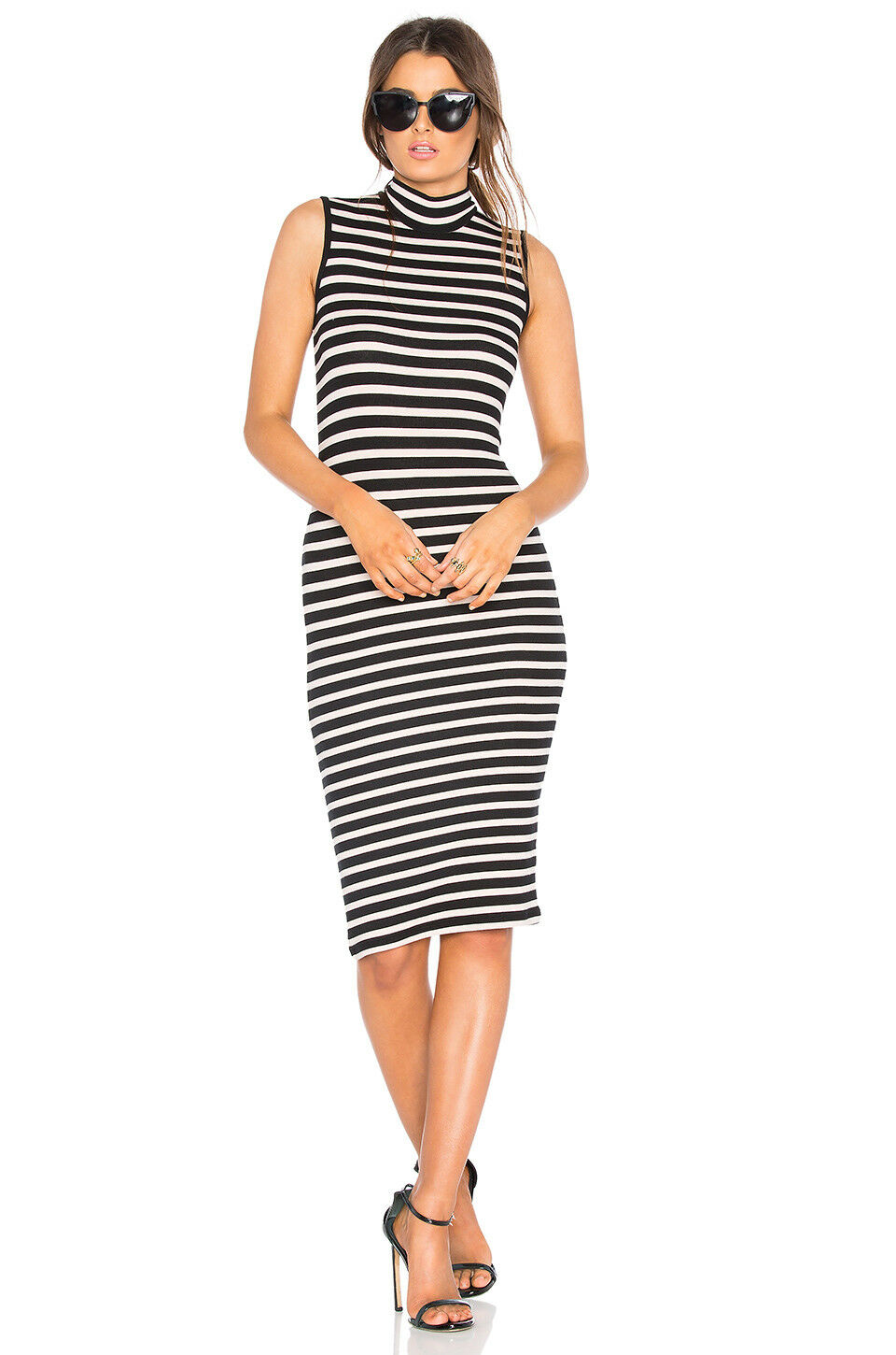 NEW ATM Anthony Thomas Melillo Sleeveless Dress in Blaush & schwarz Stripe XS