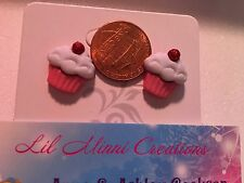 white frosting pink wrapper cupcake stud posted earrings