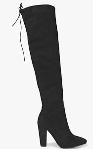 Krush ELLA Over Knee Pointed Block Heel Faux Suede Boots UK 7 EU 41 LG07 53  SAL