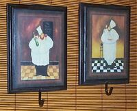 Wall Plaque Fat Chef Pictures Hooks Decor Set 2 Org