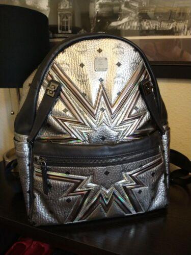 MCM Silver Medium Dual Stark Cyber Flash Backpack