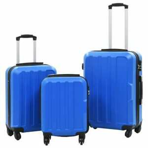 vidaXL-3-Piece-Hardcase-Trolley-Set-Blue-ABS-Travel-Luggage-Bag-Box-Suitcase