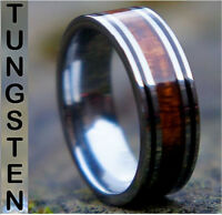 Genuine Koa Wood Inlay Mens Tungsten Carbide Wedding Band Ring