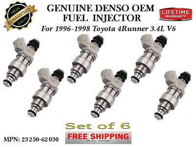 DENSO OEM FUEL INJECTORS 6X for 1996-1997-1998 TOYOTA 4RUNNER 3.4L 23250-62030