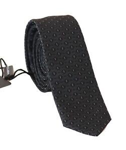 NEW-DOLCE-amp-GABBANA-Tie-Black-100-Silk-Blue-Pattern-Slim-Necktie