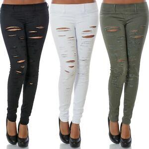 Damen-Stretch-Hose-Stoffhose-Roehre-Skinny-Leggings-Leggins-Treggings-Jeggings
