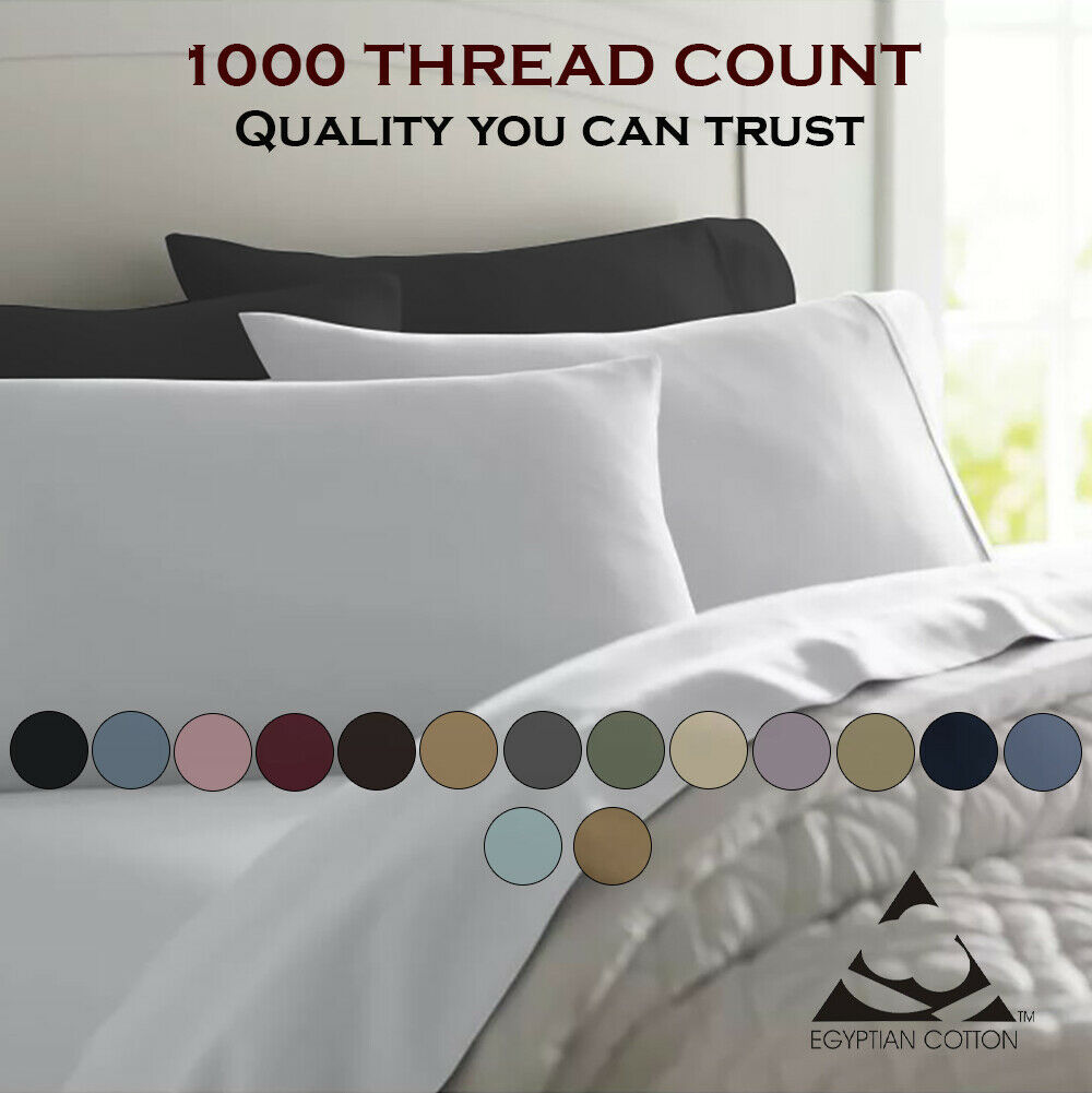 Feel Luxury Comfort 1000 Thread Count 100% Egyptian Cotton Solid Bed Sheet Set