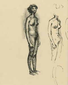 Peter Collins ARCA - c.1970s Pen and Ink Drawing, Standing Female Nude