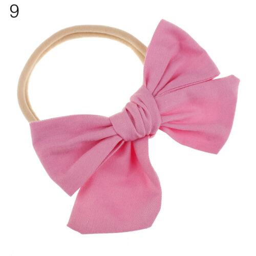 Cotton Floral Print Big Bow Baby Nylon Hairband Elastic Headband Turban Headwrap