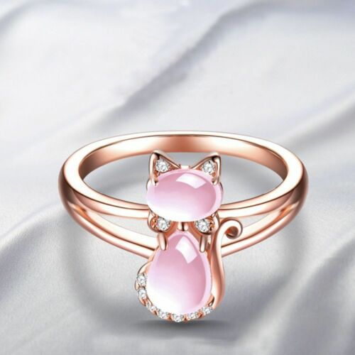 Finger Natural Crystal Pink Rose Gold Color Stone Cat Animal Jewelry Rings