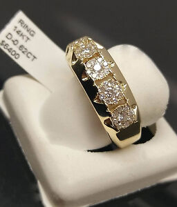 Image Is Loading Real 14k Yellow Gold Mens Diamond Band Engagement