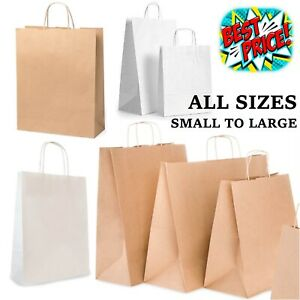 BROWN WHITE PAPER BAGS HANDLES WITH KRAFT SMALL LARGE 50 100 CARRIER GIFT PARTY