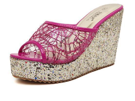 Schuhe ciabatte sabot Sandaleei tacco zeppa 10 cm rosa comode elegante 8156