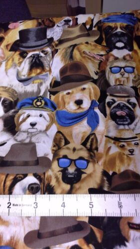 fat quarters Timeless Treasures 3951 Dogs in Hats Neutral 100/% cotton Dog