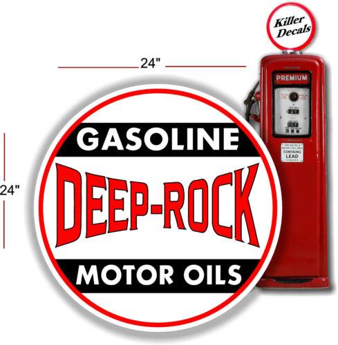 "24/"" DEEP ROCK MOTOR OILS ROUND GASOLINE GAS PUMP TANK DECAL"