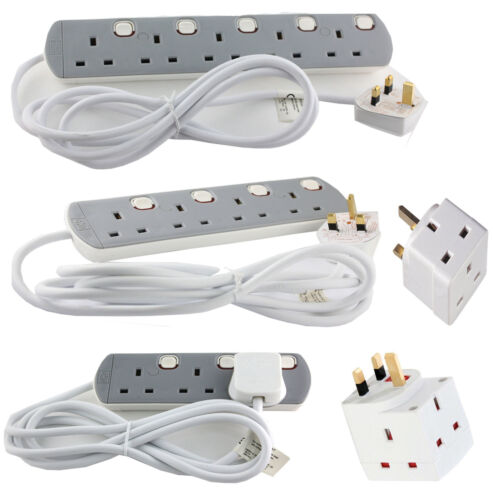 3//4 5 Way Gang 2 mètres individuellement swithched 13amp mains socket extension lead