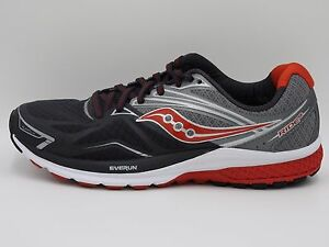 Saucony Ride 9, Running Shoe, 20318-1, Black/Silver/Red, Men's 9.5,10