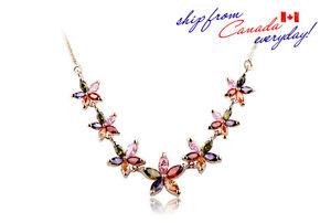 18K GP Elegant Bridal Party Colorful Cubic Zirconia Flower Necklace