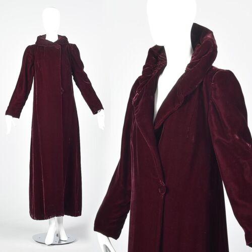 XS 1940s Coat Burgundy Velvet Opera Maxi Coat Long