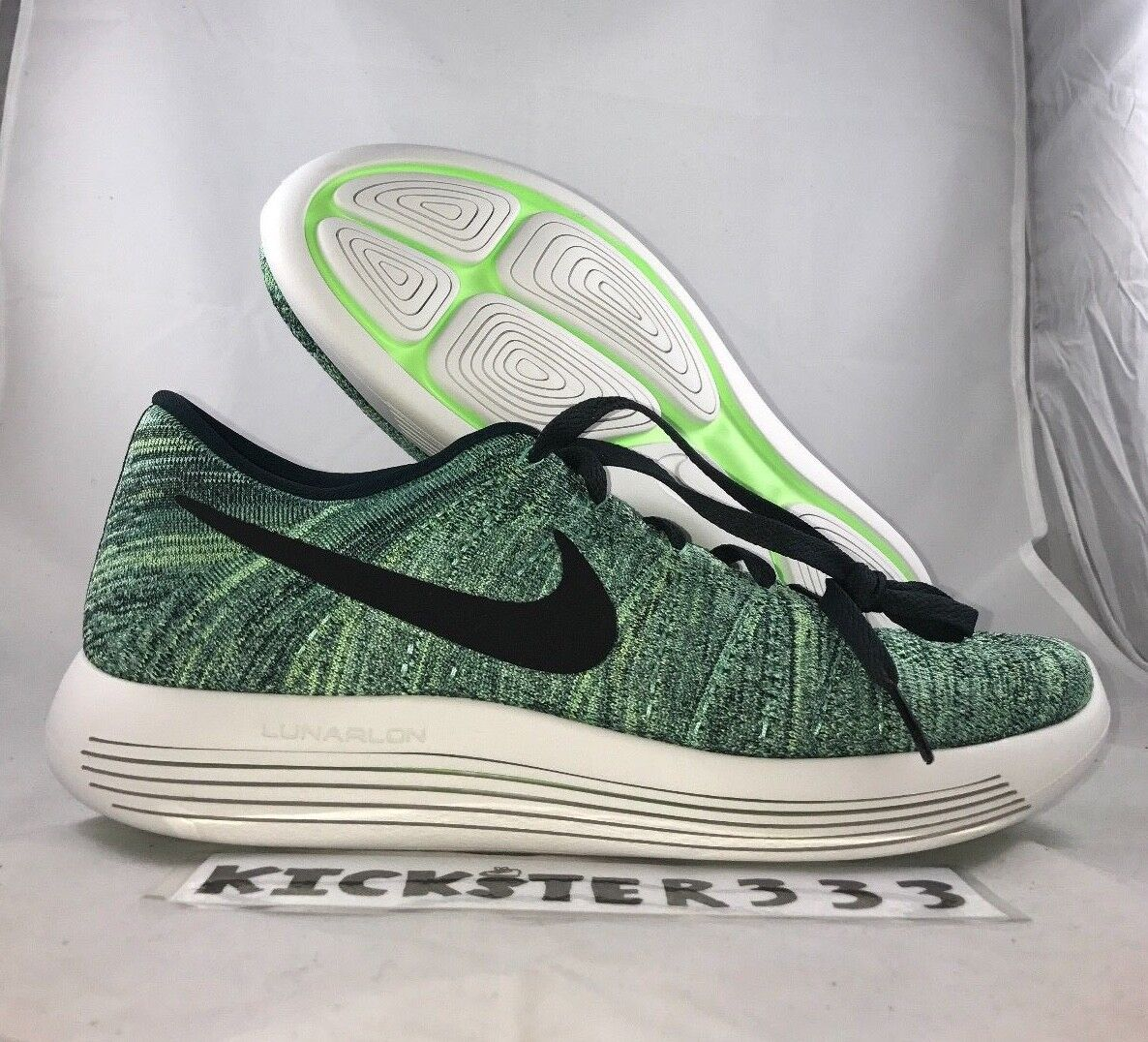 Nike Lunarepic Low Flyknit Green Black Running Shoes 843764-300 Men's 8-9 NEW