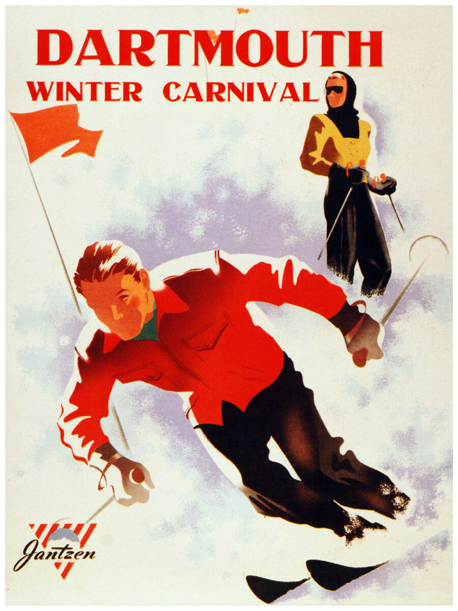 16x20  CANVAS Decor.Room art print.Dartmouth Winter ski.skiing sport.6028