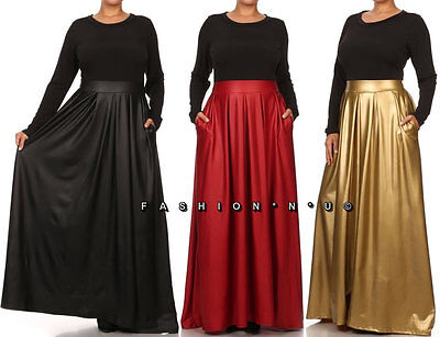 PLUS SIZE BLACK PLEATED HIGH WAIST WITH POCKETS LONG MAXI SKIRT DRESS 1X 2X 3X