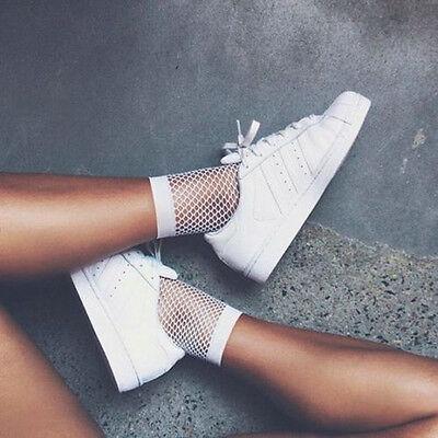 Women White Fishnet Ankle High Socks Lady Mesh Lace Fish Net Short Socks Sanwood