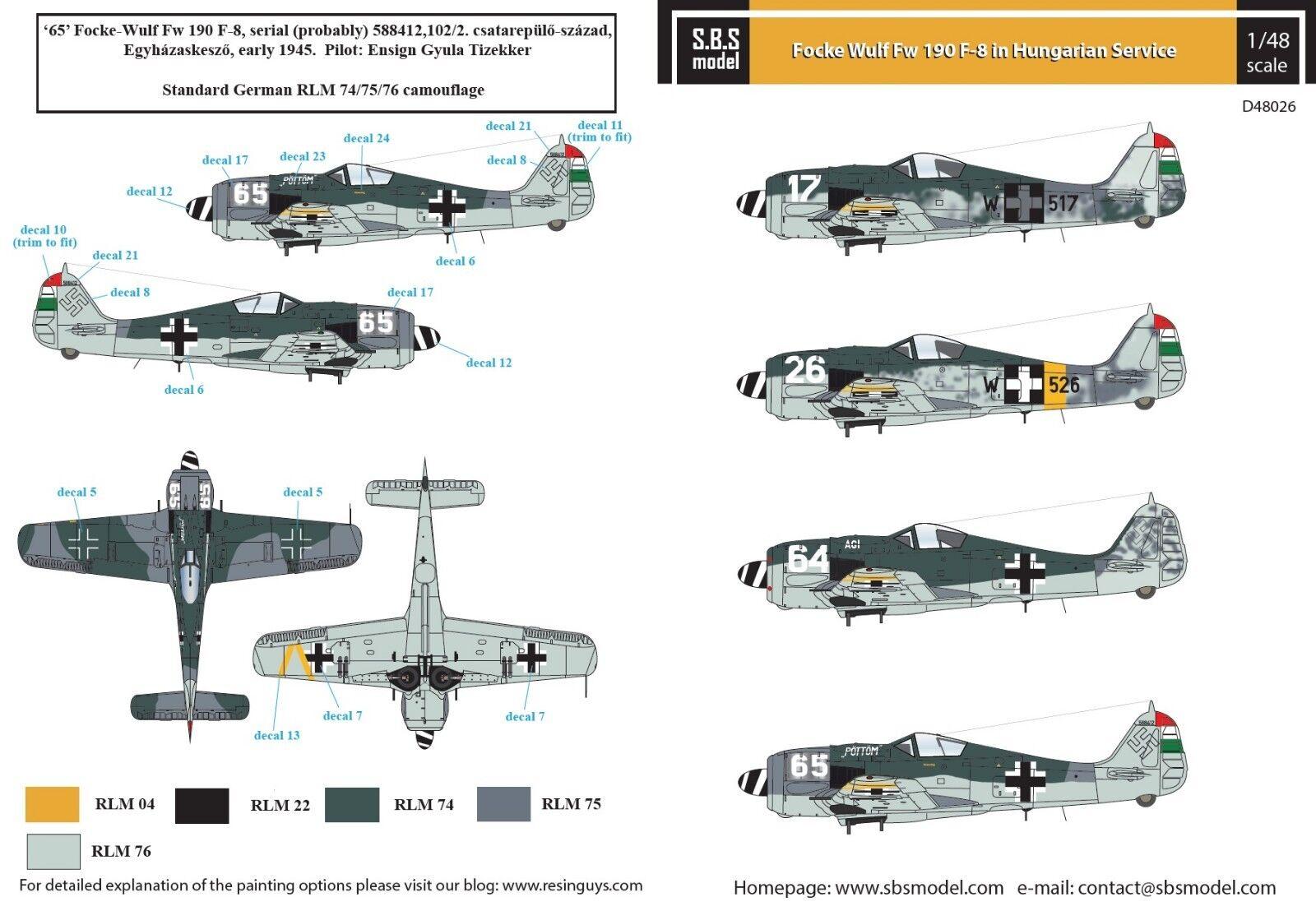 model Messerschmitt Bf-109 G-6 Decals Ungarn – 1:48 sd48020// S.B.S