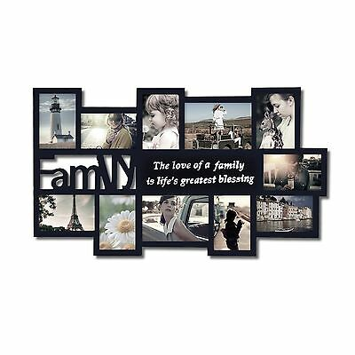 """Adeco 11-Opening Black Wood """"Family"""" Wall Hanging Collage Picture Photo Frames"""