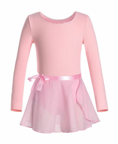 Girls Basic Leotard Gymnastics Ballet Dancewear Long Sleeve Wrap Skirts Costumes
