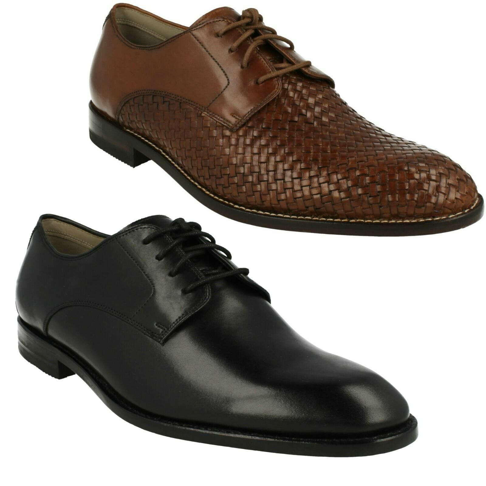 TWINLEY LACE CLARKS MENS DRESS FORMAL LACE UP SMART WOVEN LEATHER DERBY SHOES