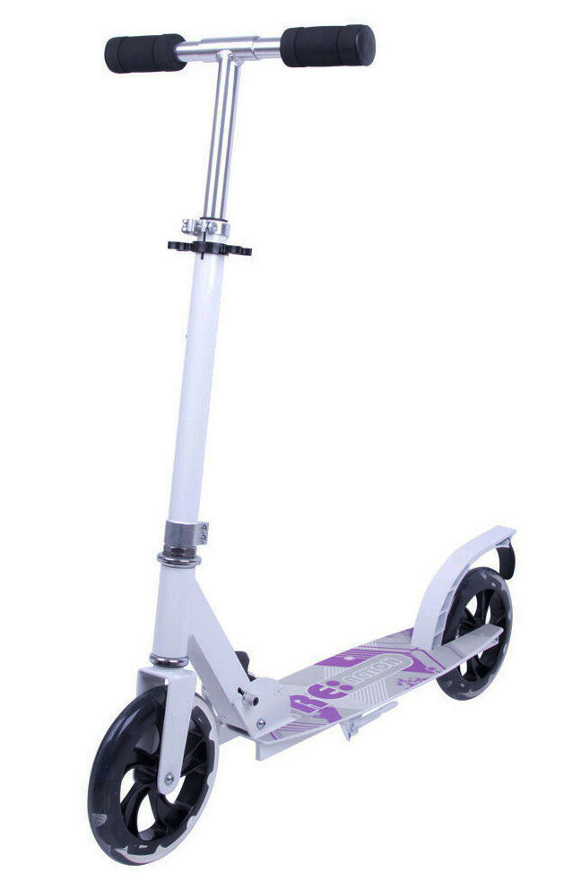 Alu-Scooter Tretroller Blancy Big Wheel 200 mm ABEC weiß 7, klappbar, bis 100 kg weiß ABEC 0aabe7