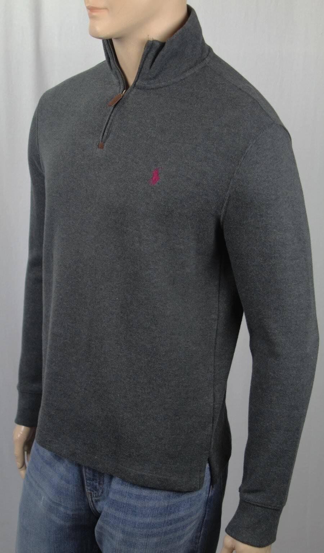 Polo Ralph Lauren Grey 1 2 Half Zip Sweater Burgundy Pony NWT