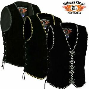 Men-039-s-Motorcycle-Harley-Style-Spanish-Braid-Suede-Vest-with-Clips-Size-XS-to-6XL