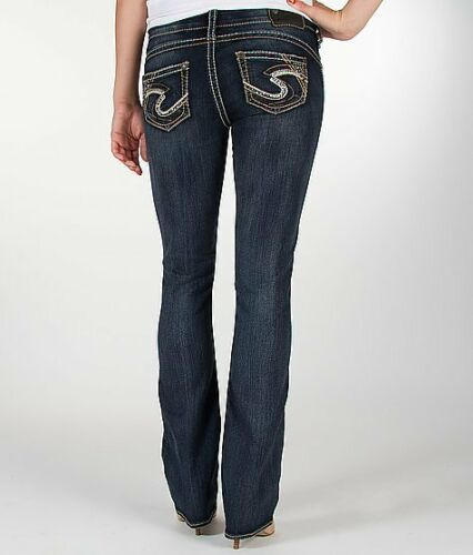 Silver Jeans Super Low Rise Tuesday Embellished Slim Bootcut 25 26 28 29 30 31