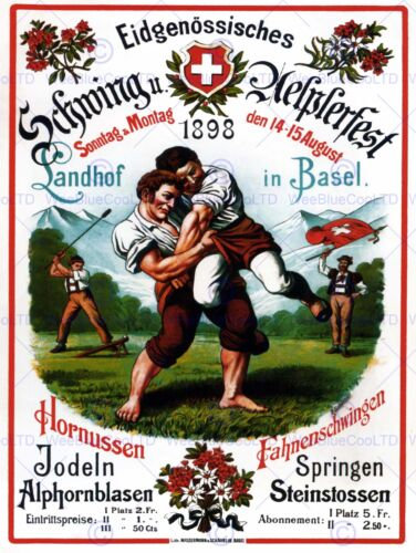 CULTURAL EXHIBITION SPORT SWISS WRESTLING ALPINE BASEL SWITZERLAND POSTER 1617PY